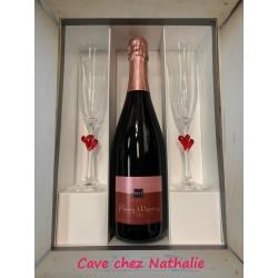 Coffret Champagne Rosé + 2 flûtes Saint-Valentin - Rémy Massin
